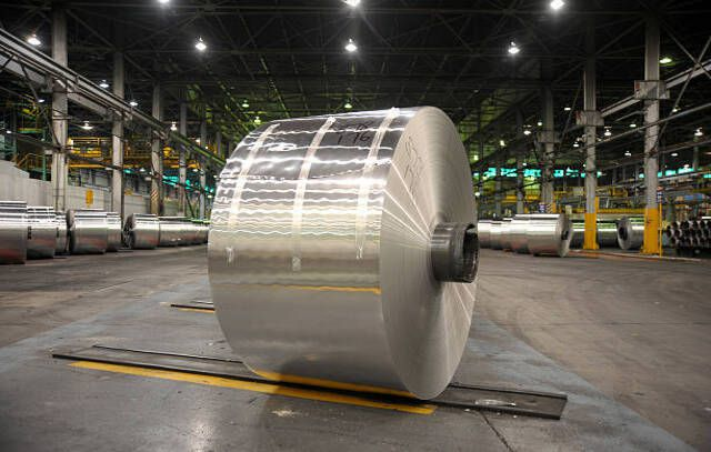 An aluminum coil stands in a warehouse awaiting transport, at an Alcoa World Alumina Australia smelting plant, partially owned by Alumina Ltd.