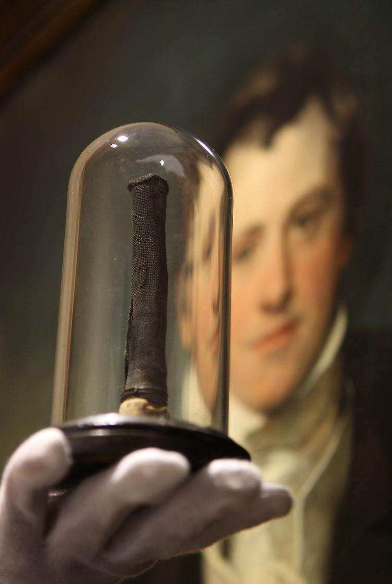 Miners' Safety Lamp & Portrait of Inventor Humphry Davy
