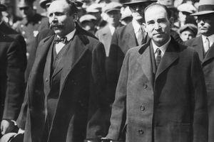Black and white photograph of Sacco and Vanzetti.