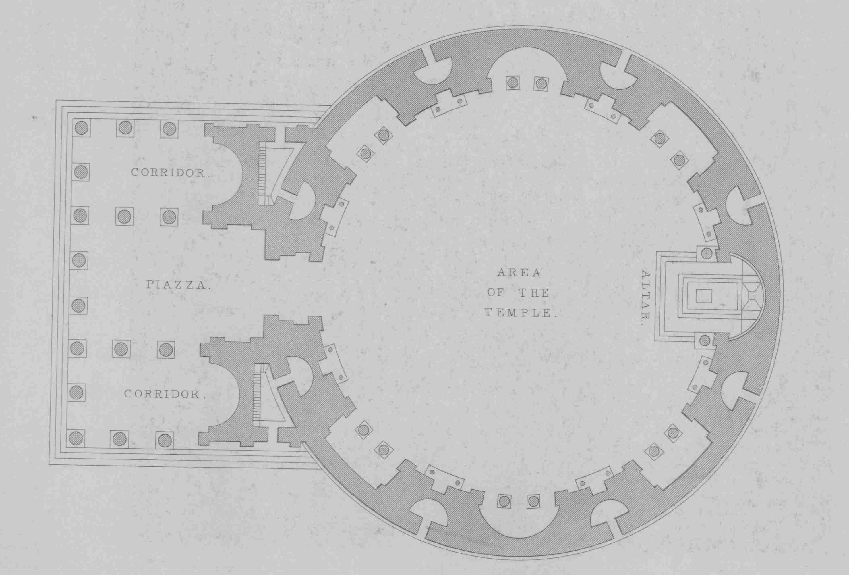 floor plan with circular Area of the Temple with corridors and piazza to the left