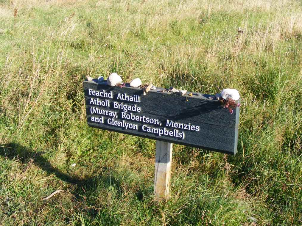 Marker for the Atholl Brigade on the extreme right of Jacobite lines. Note the heather and thistle left in memory of the fallen clansmen.