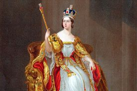 Depiction of Queen Victoria on the throne in her coronation robes