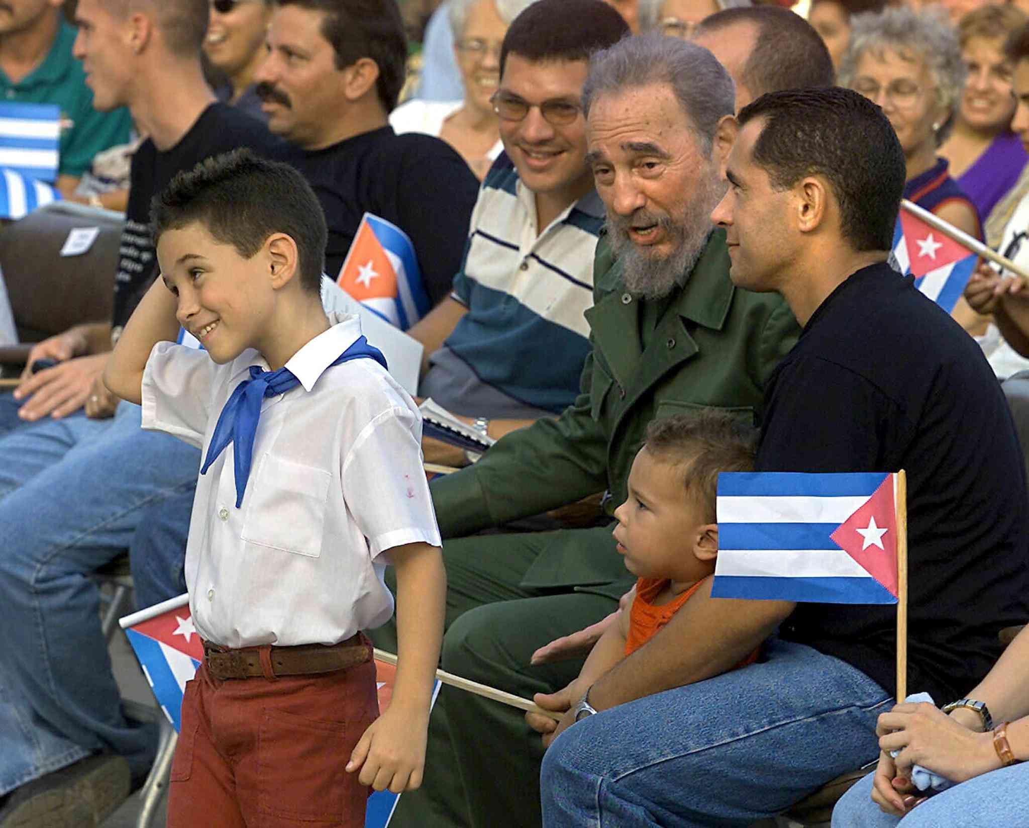 Elián and Juan Miguel González with Fidel Castro