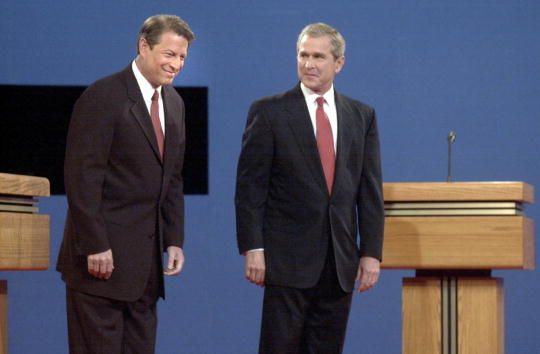 Democratic Vice President Al Gore and Republican Texas Governor George W. Bush at their first debate