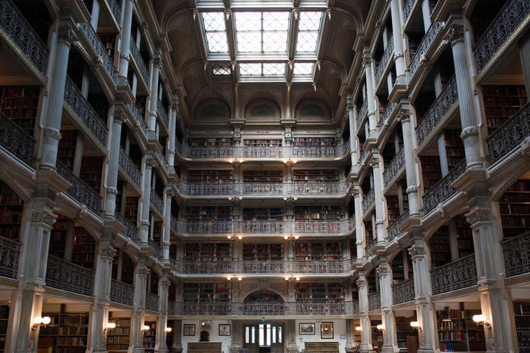 Interiors of a library, Peabody Institute
