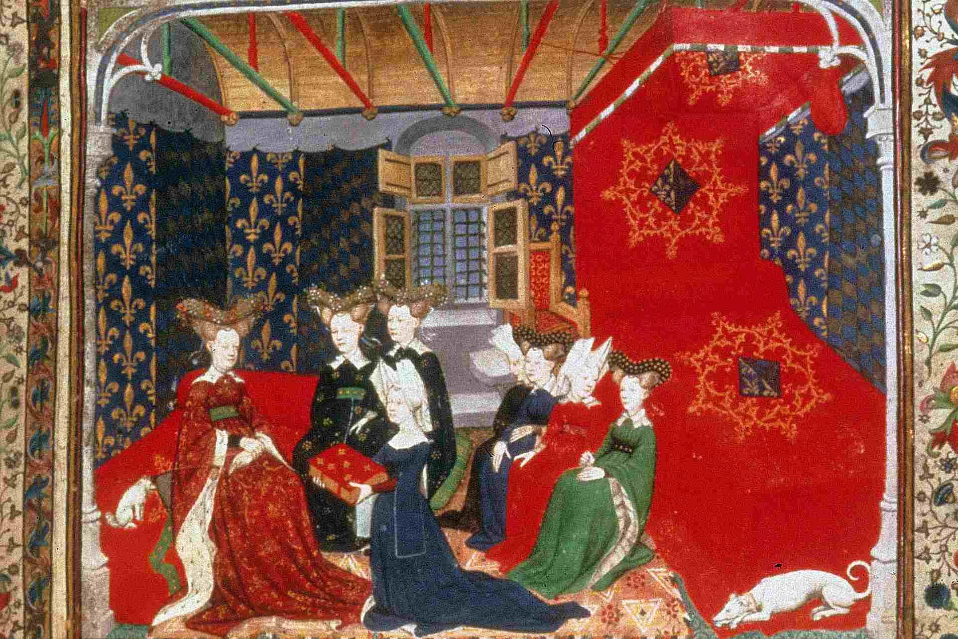 Christine de Pisan presents her book to French queen Isabeau de Baviere