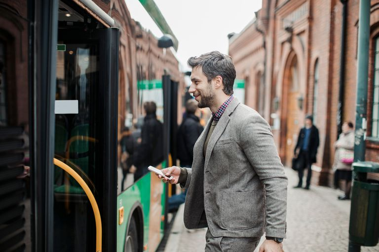 A man boarding a bus symbolizes the shared definition of the situation that shapes how we interact with others and what we do in a given situation.