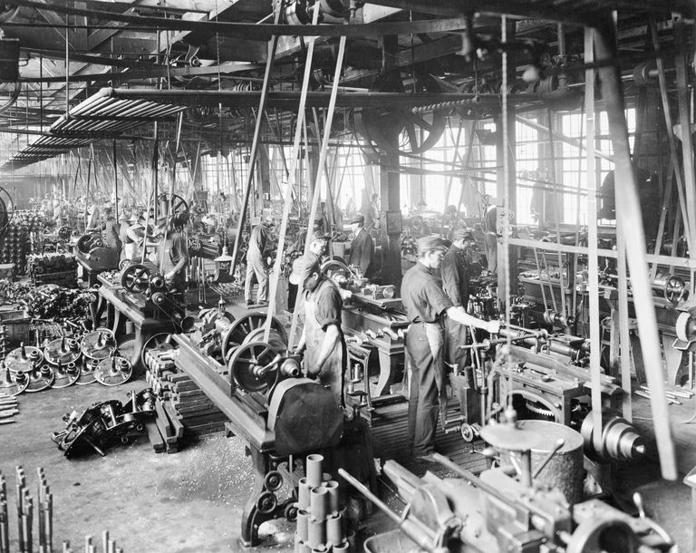 Interior Of Automobile Factory Ww I