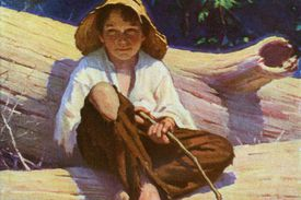 Huckleberry Finn fishing with a pole made out of a branch