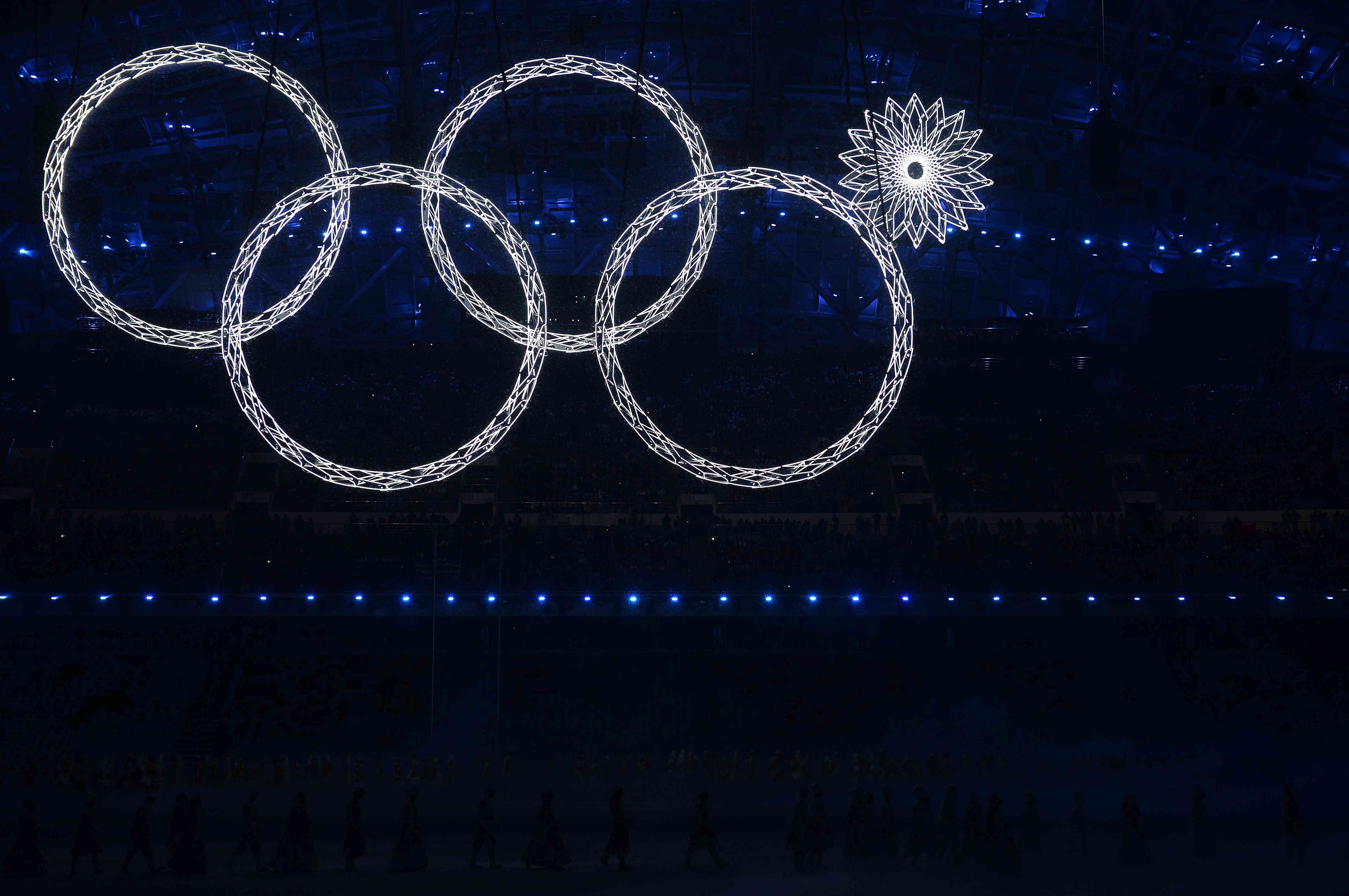 The Olympic rings in lights during the 2014 Opening Ceremony.