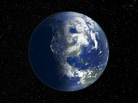 North America, day and night, satellite image of the Earth