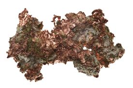 Copper is one of relatively few elements found in native state. You can see the copper metal in this specimen from a Minnesota mine.