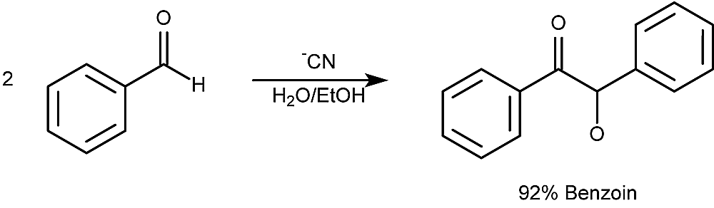 This is an example of the benzoin condensation reaction.