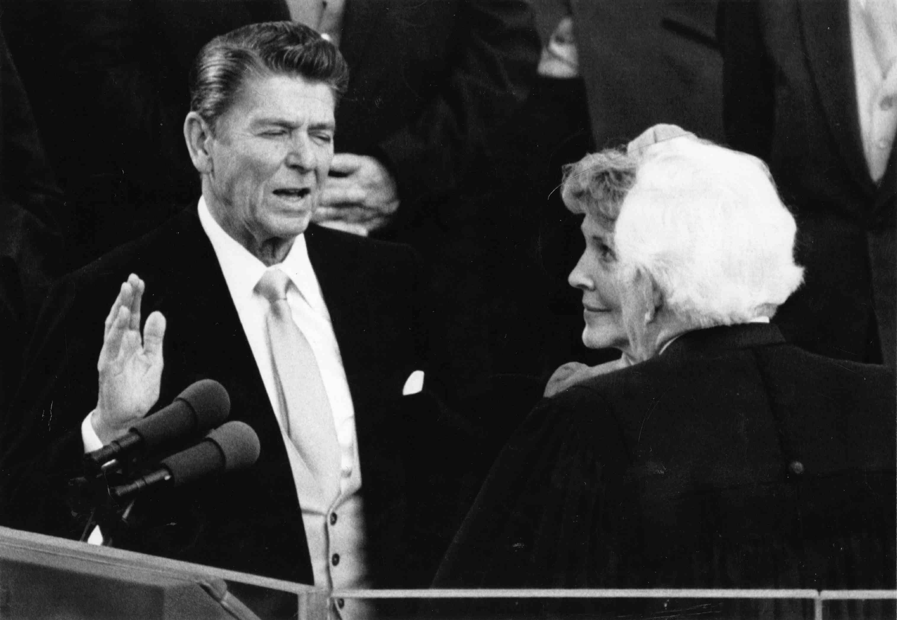 Ronald Reagan taking the oath of office