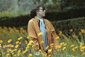 Painter Joan Mitchell in a Field