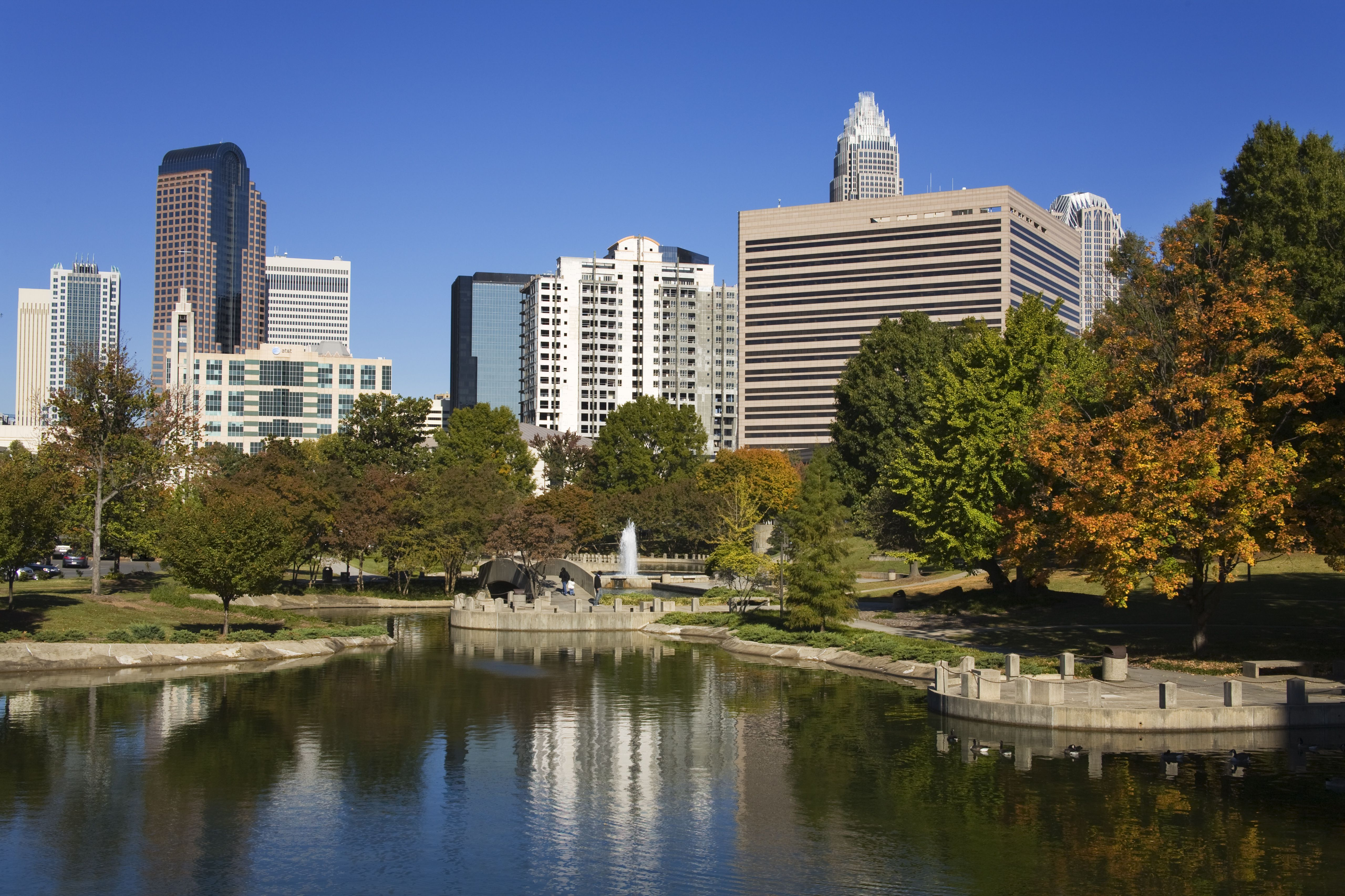 Marshall Park and city skyline.