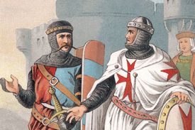 12th- or 13th-century Templar Knights and crusaders in a 19th-century illustration