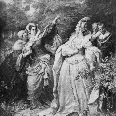 Depiction of a fictional meeting between Mary, Queen of Scots, and Queen Elizabeth I