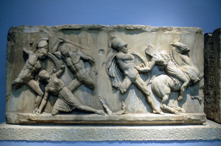 Relief depicting Greek soldiers fighting Amazons.