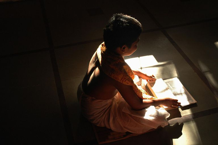 Brahmin boy reading Vedas, elevated view