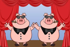 Two pigs with cigars and bow ties