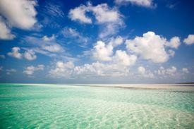 Turquoise seas under a sunny blue sky