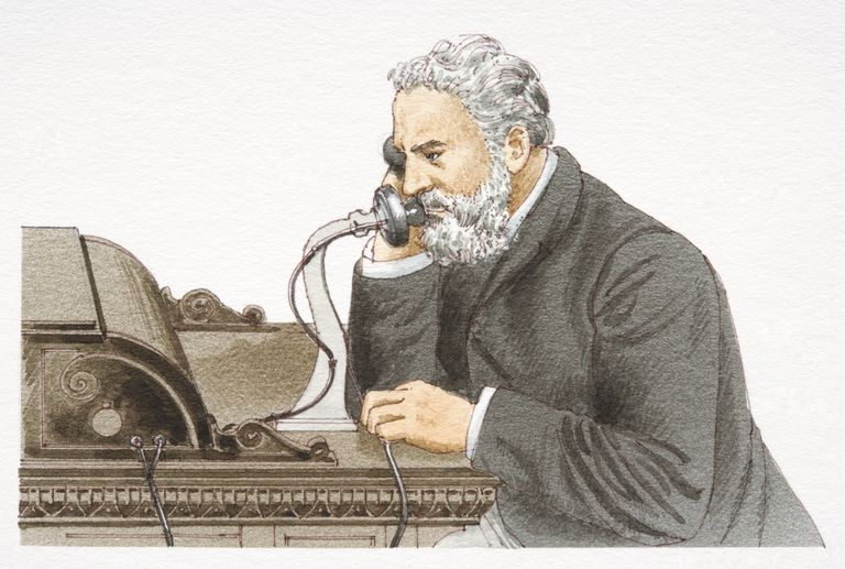 Alexander Graham Bell speaking 1876 Bell telephone, side view.