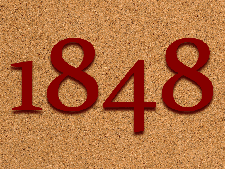 number 1848 on corkboard