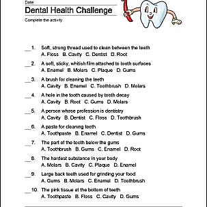 Dental health challenge print out