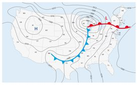 Imaginary weather map of the United States of America.