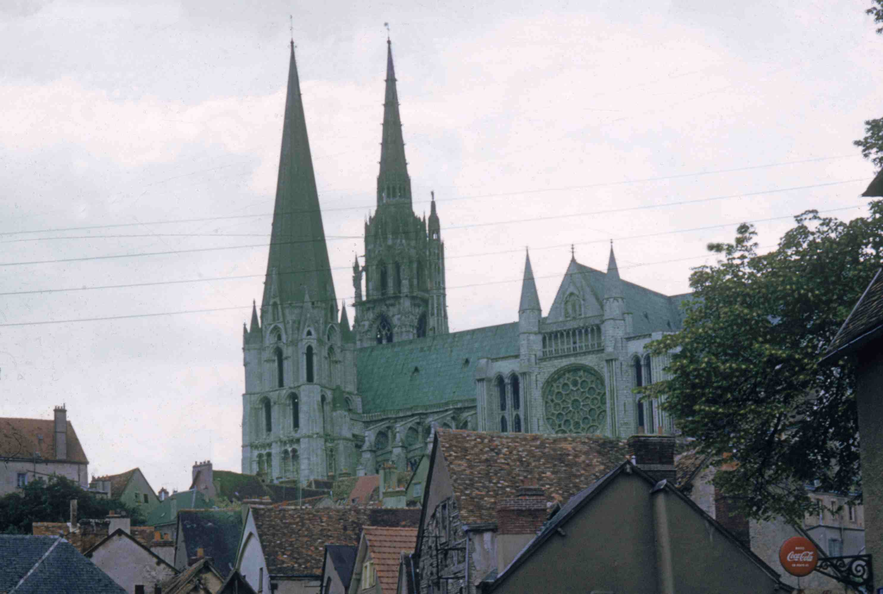 Looking at the gothic spires of the Cathedrale Notre-Dame de Chartres from the streets of Chartres, France