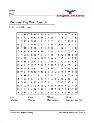 memorial day wordsearch crossword puzzle and more