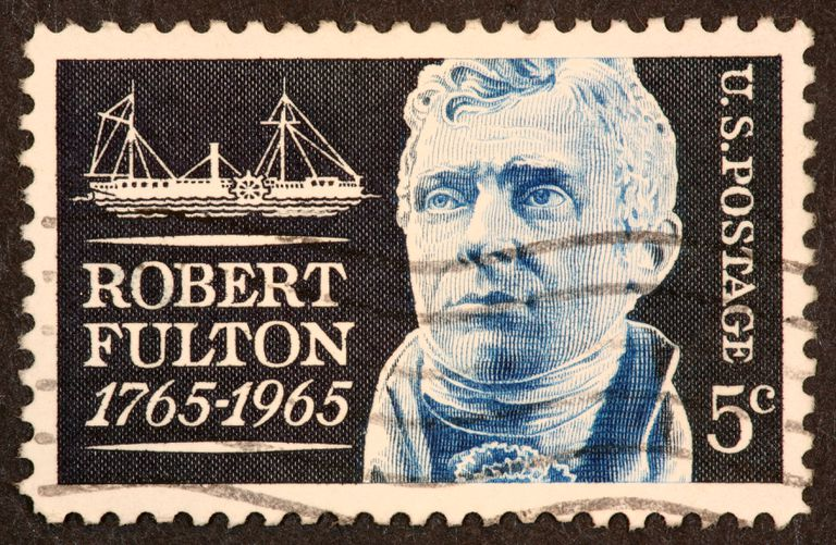 Postage stamp honoring Robert Fulton, inventor of the steamboat