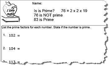 Prim Number Worksheet 5