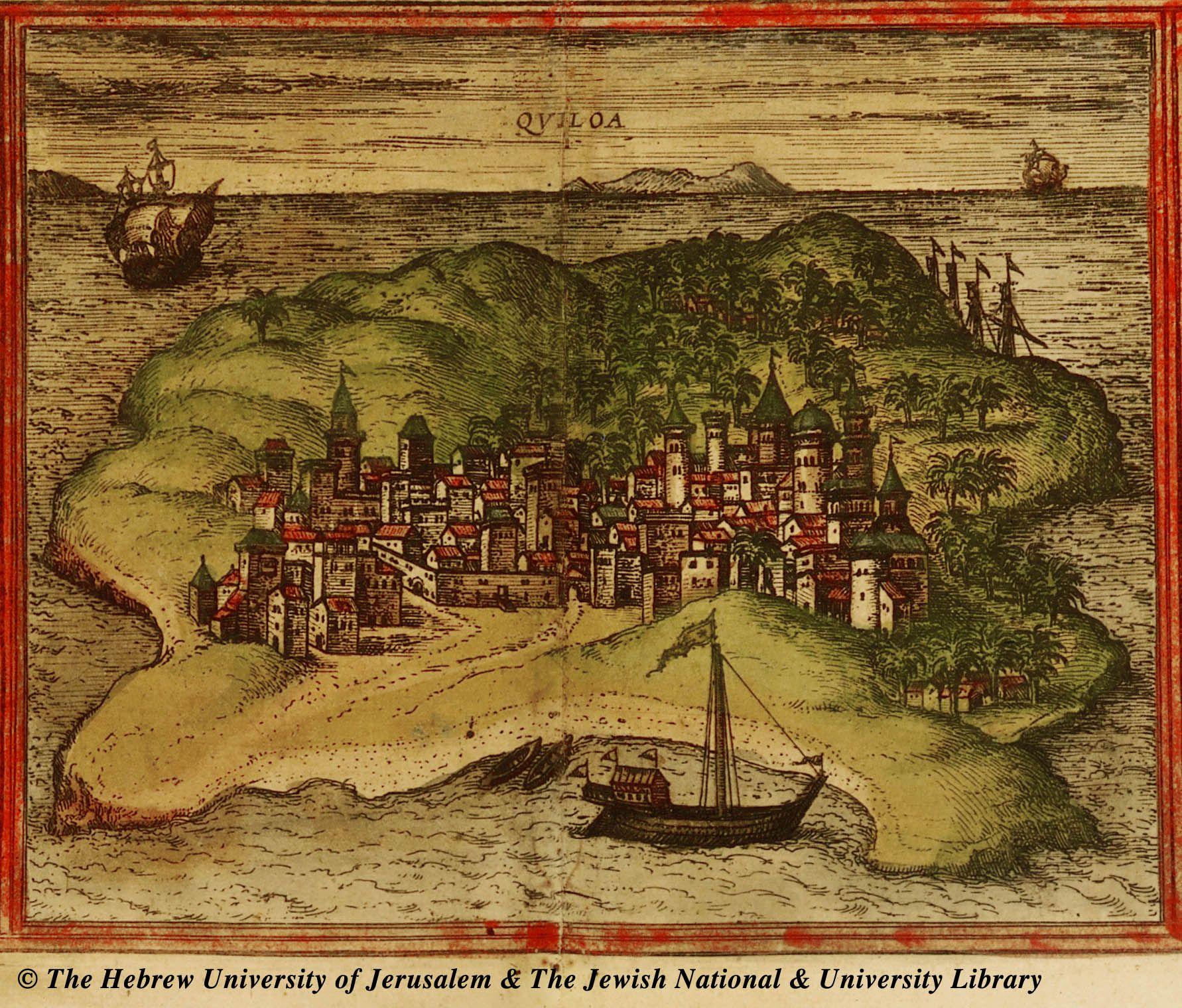 Kilwa Kisiwani (Quiloa) - undated Portugueuse map, published in Civitates Orbis Terrarum in 1572