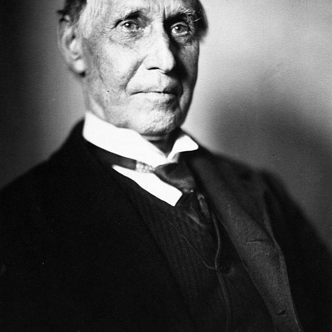 Portrait of Russell Sage (1816-1906), wealthy financier and congressman from Troy, New York.