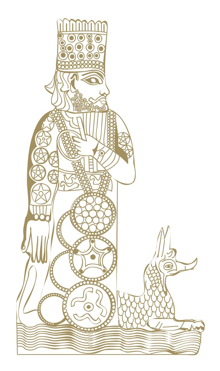 Digital illustration of Babylonian god Marduk.