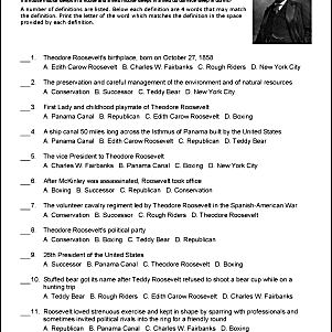 Theodore Roosevelt Challenge Worksheet