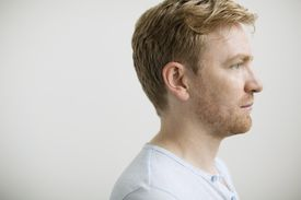 Profile of man with strawberry blonde hair