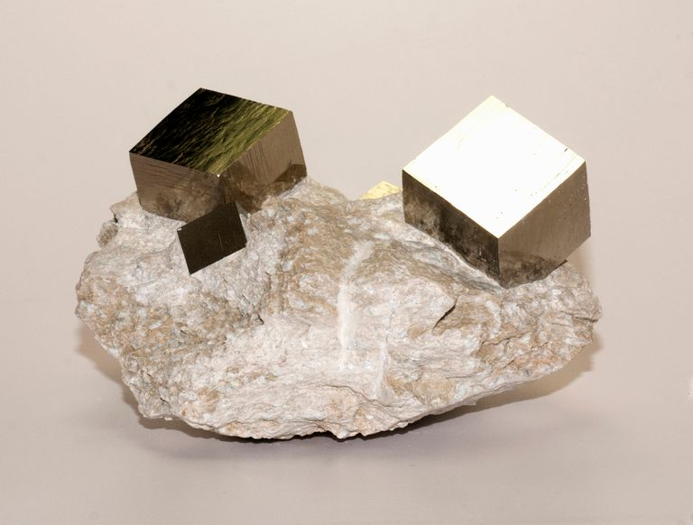 Iron pyrite cubic crystals in matrix, collected at Mina Victoria, Navajun La Rioja, Spain