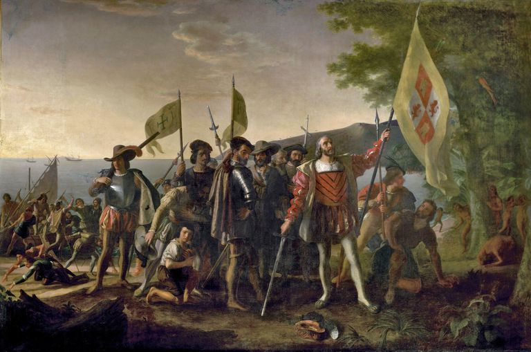 Full-color painting of Christopher Columbus's first landing in the Americas in 1492.