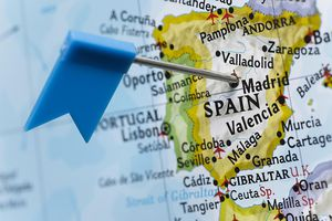 map of Spain with pin on Madrid