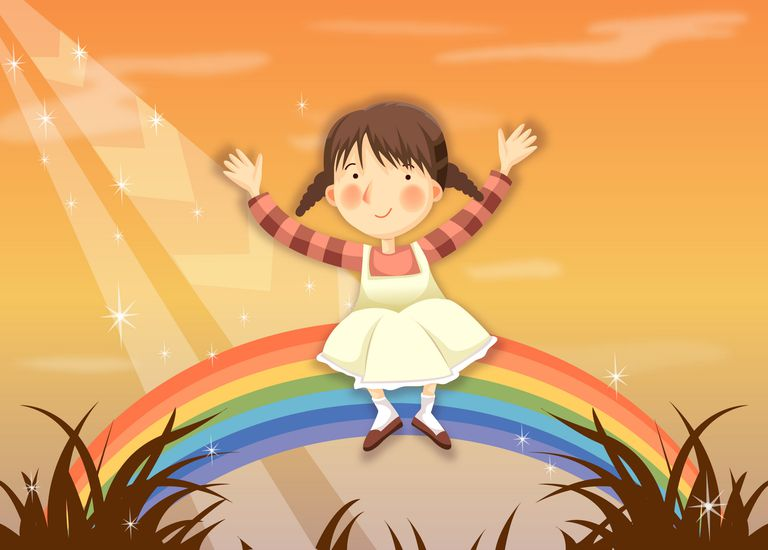 Girl Sitting on top of a rainbow