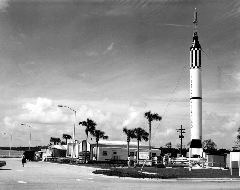 MR-6 Redstone rocket, black and white photograph.