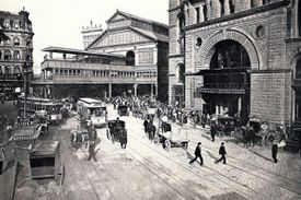 Photograph of Park Row with Pulitzer Building 1890s