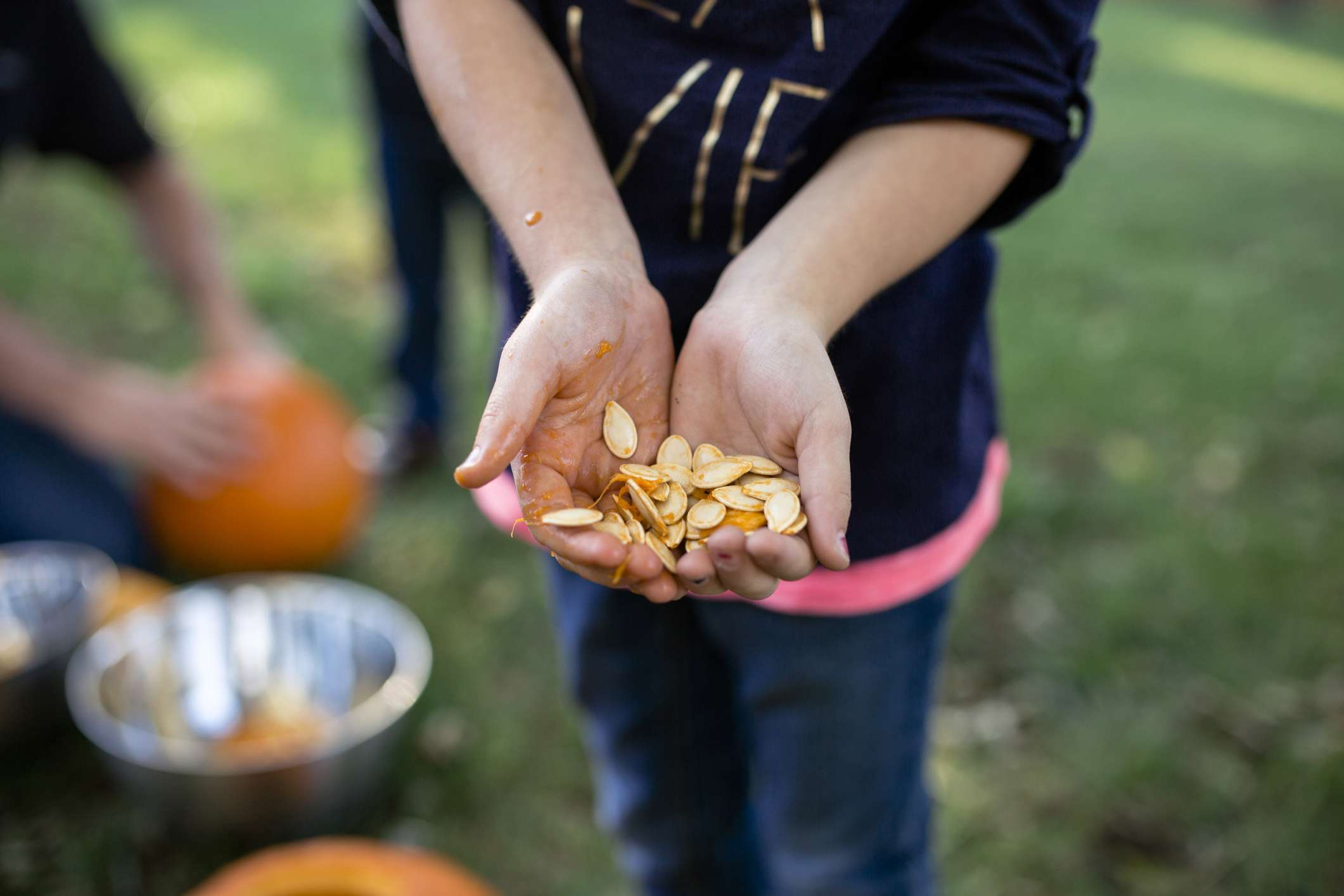 A kid holding pumpkins seeds