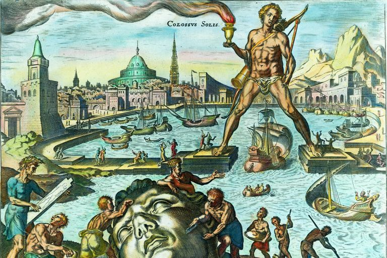 Drawing depicting the Colossus of Rhodes.