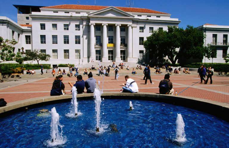 Sproul Hall and Plaza on Campus of University of California.