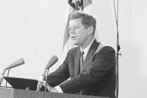 President Kennedy addressing the nation during the 1962 Cuban Missile Crisis