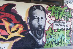 A graffiti portrait of Max Weber